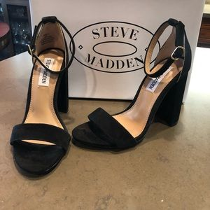 Steve Madden Black Suede Two Piece Block Heels